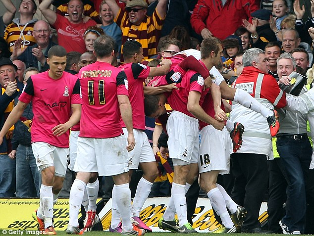 Wembley bound: Bradford players celebrate making the play-off final