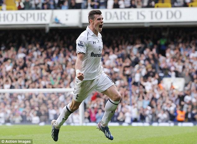 Gareth Bale celebrates after scoring the winning goal in Tottenham's 1-0 win over Southampton