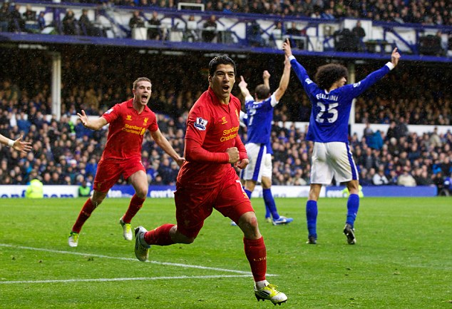 Balanced out: Rodgers drew comparisons with the goal Luis Suarez had disallowed in the Merseyside derby at Goodison Park earlier this season