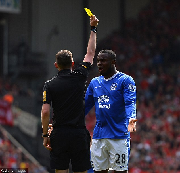 Booked: Victor Anichebe was cautioned for dissent after contesting Distin's disallowed goal