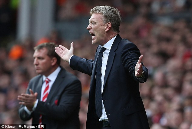 Fuming: Everton manager David Moyes is still waiting for his first Merseyside derby win at Anfield after Sylvain Distin saw his goal disallowed as Liverpool and Everton drew 0-0