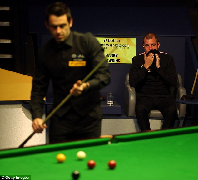 Just enough: The Rocket edged out Barry Hawkins 5-4 in Sunday night's session