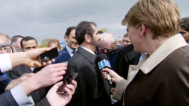 Interview over: The Sheik walked away from Clare Balding (right) after she asked a question he didn't like