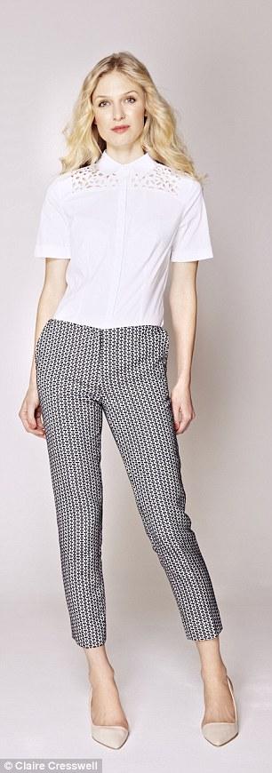 White shirt: Shirt, £26, next.co.uk Trousers, £69, cosstores.com, Heels, £50, office.co.uk