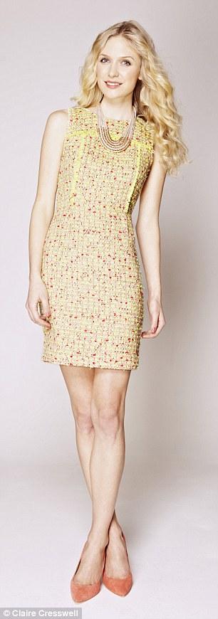 Tweed dress: Dress, £238.27, jcrew.com, Necklace, £16.50, and shoes, £58, topshop.co.uk
