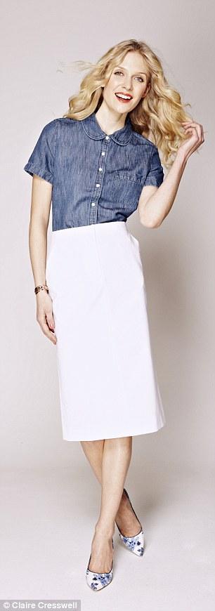 Denim blouse: Shirt, £64.28, jcrew.com, Skirt, £55, cosstores.com, Shoes, £185, lkbennett.com, Large bracelet, £75, stelladot.co.uk, Gold bracelet, £35, reiss.com
