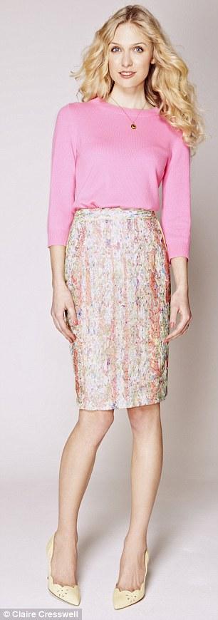 Pencil skirt: Skirt, £135, whistles.co.uk, Jumper, £68.14, jcrew.com, Necklace, £55, stelladot.co.uk, Shoes, £195, lkbennett.com