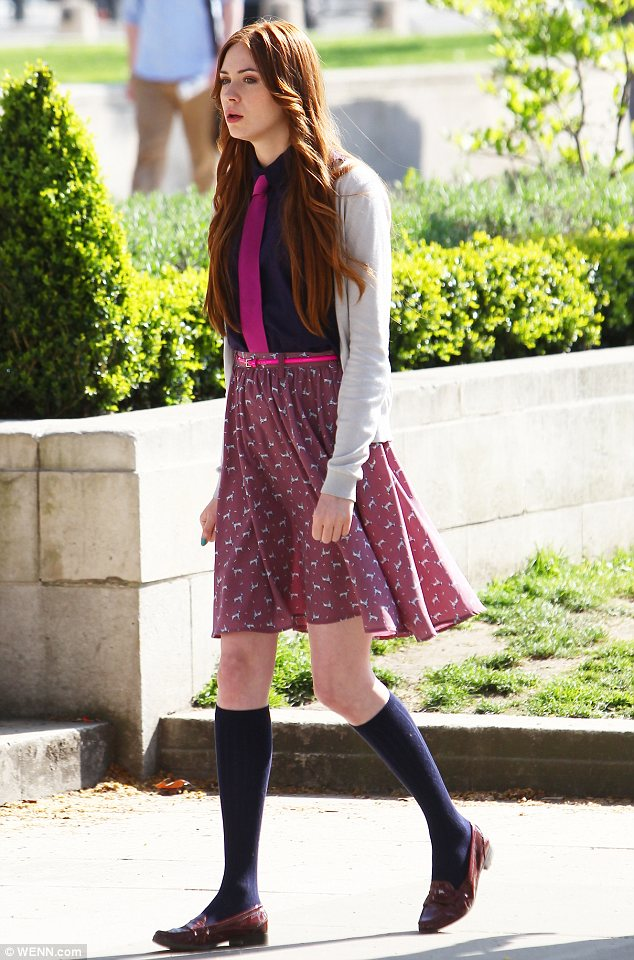 New saviours in town: Karen Gillan films scenes for her new role in NTSF:SD:SUV::