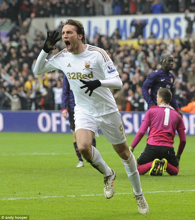 Are you listening? Michu's trademark celebration has become a familiar sight this season