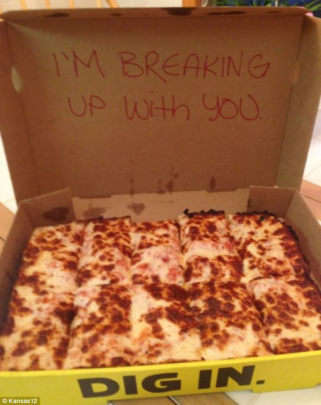 The pizza that came with a topping of bad news was posted on Imgur by Kansas12