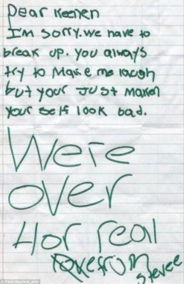 """This break-up note was found on the street by Flickr user Mystical_Jello. She wrote: 'Steve, whoever you are, be a man a break-up face to face. The crossed out """"love"""" is such a nice touch'"""