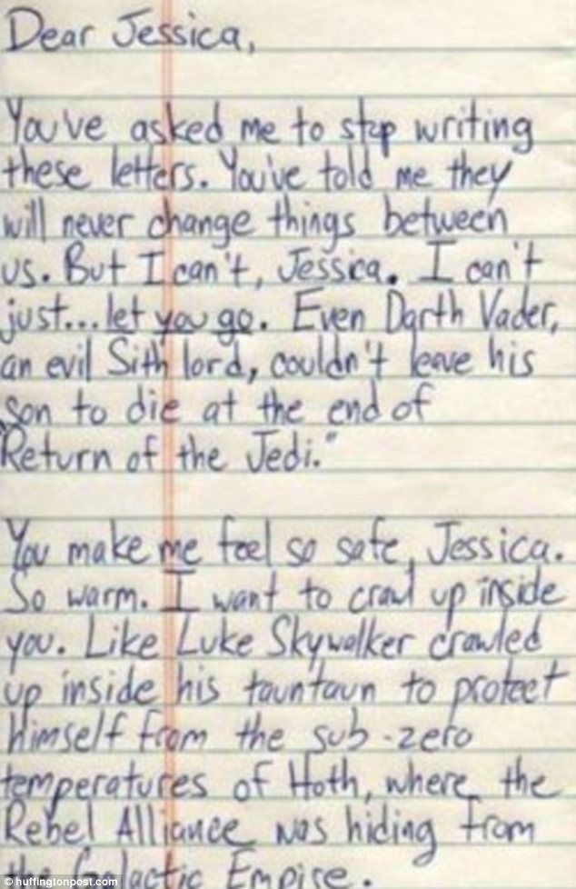 The force was no longer with Jessica's relationship, despite the romantic notion that: 'I want to crawl up inside you. Like Luke Skywalker crawled up inside his tauntaun'
