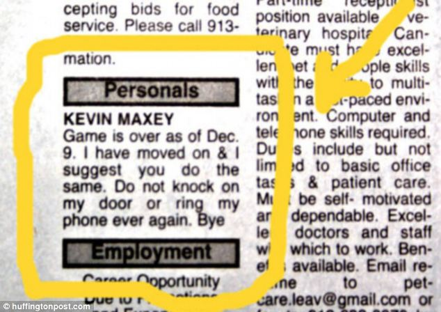 A very personal ad: Kevin found out things were over when every other reader did