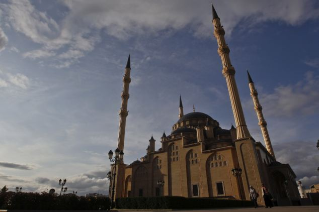 The heart of Chechnya mosque is the focal point of the Grozny skyline