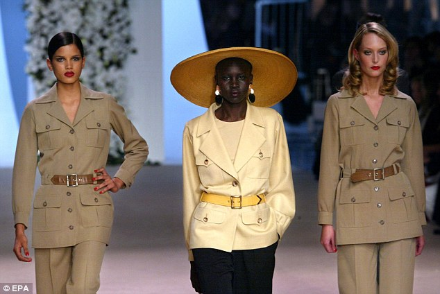 Luquet is credited with providing inspiration for YSL's legendary safari suits, here being modelled at the designer's last ever show, in Paris in January 2002