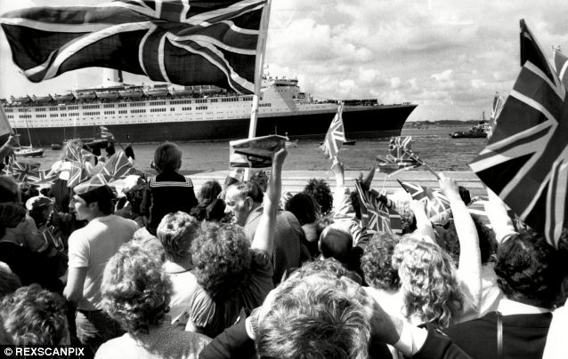 Aftermath: Jubilant crowds greet the QE2 as it arrives back in Southampton - filled with servicemen - after the conflict