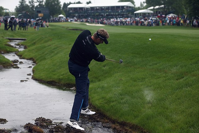 American adventure: David Lynn shone at Quail Hollow but found himself in trouble in the play-off (below)