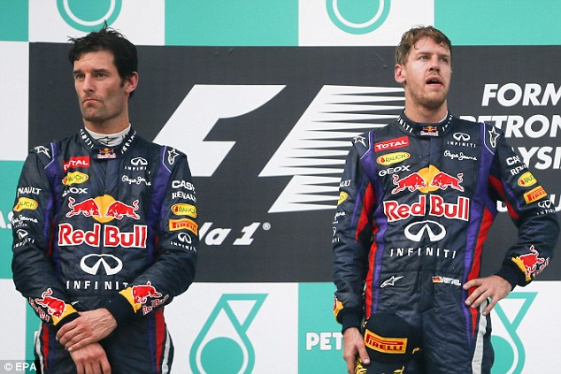 Remind you of anyone? Vettel (right) and Mark Webber have a fractious relationship at Red Bull