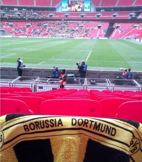 The Germans are coming: One fan jokingly reserves a seat for the Champions League final