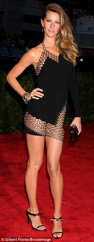 Pretty in punk: Gisele celebrated the evening's theme by rocking out on the red carpet