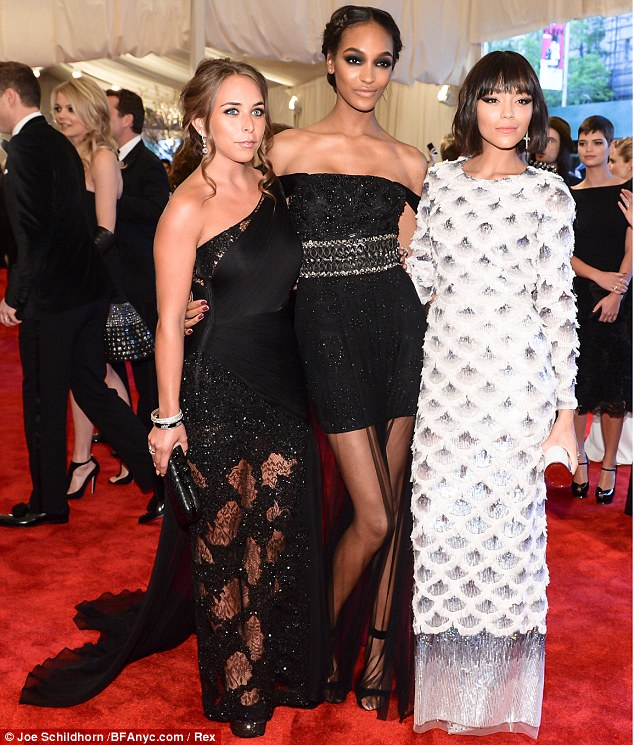 Here comes the Brits! Topshop heiress Chloe Green posed with model Jourdan Dunn and Revenge star Ashley Madekwe, both wearing custom-made Topshop designs, on the red carpet