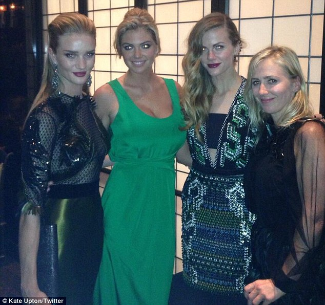 Famous friends: Kate Upton posted a shot of herself on Twitter with Rosie Huntington-Whiteley and Brooklyn Decker