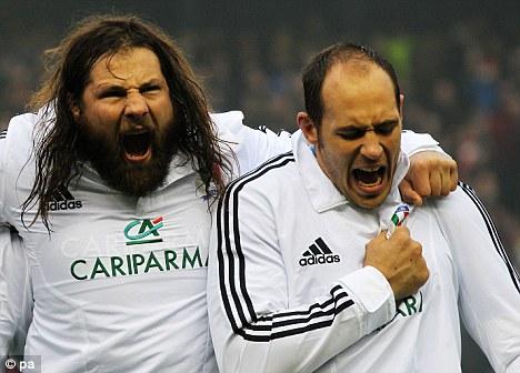 Italian stallions: Castrogiovanni (left) and Azzurri skipper Sergio Parisse
