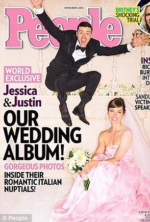 Pretty in pink: Like 5 per cent of women, Jessica Biel and Reese Witherspoon opted for a pink gown on their big day