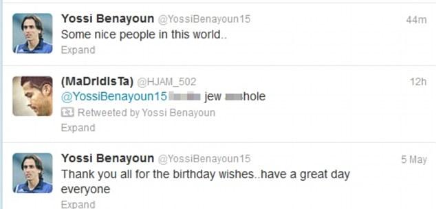 Yossi Benayoun Twitter abuse