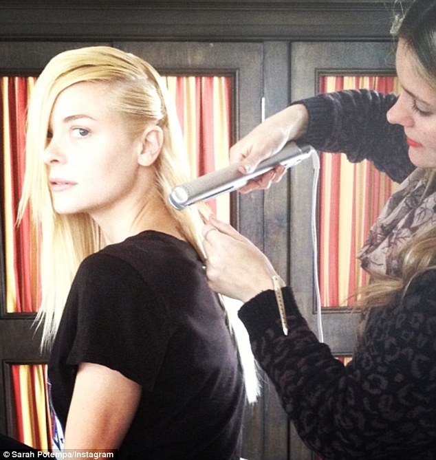 Sleek and straight: Hair stylist to the stars Sarah Potempa added a picture after straightening Jaime King's hair