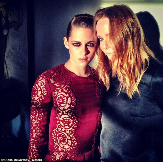 Sultry style: Stella McCartney posted a picture of herself with Kristen Stewart after getting ready for the ball