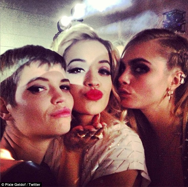 Brits together: Cara Delevingne, Rita Ora and Pixie Geldof all posed up for a picture during the Punk themed ball