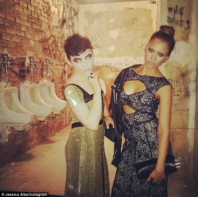 Punk princesses: Jessica Alba tweeted a picture of herself posing with Ginnifer Goodwin at the Met Ball on Monday