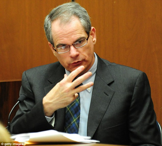 Expert: Medical examiner, Dr Christopher Rogers testified during Dr. Conrad Murray's involuntary manslaughter trial in October 2011 and appeared in court again yesterday in the trial brought by the Jacksons against concert promoter AEG