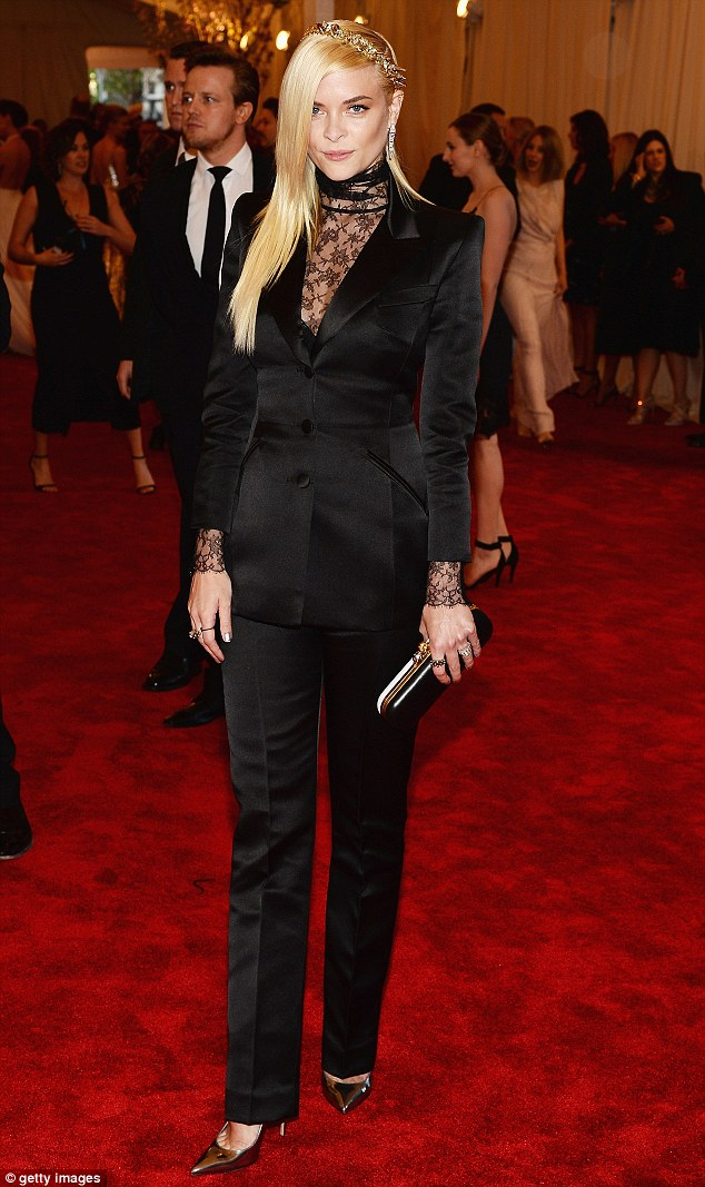 Stylish: Jaime King decided against a dress and instead wowed in this stylish black custom made suit