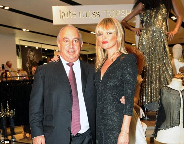Friends in high places: Sir Philip Green is close friends with Kate Moss and is collaborating with Kate Upson too
