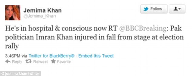 On the mend: Jemima Khan posted a tweet telling her followers her ex-husband was being treated in hospital and had regained consciousness