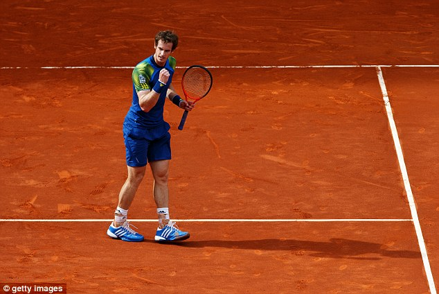 Fist pump: Andy Murray beat Florian Mayer in two tie-break sets on Tuesday in Madrid