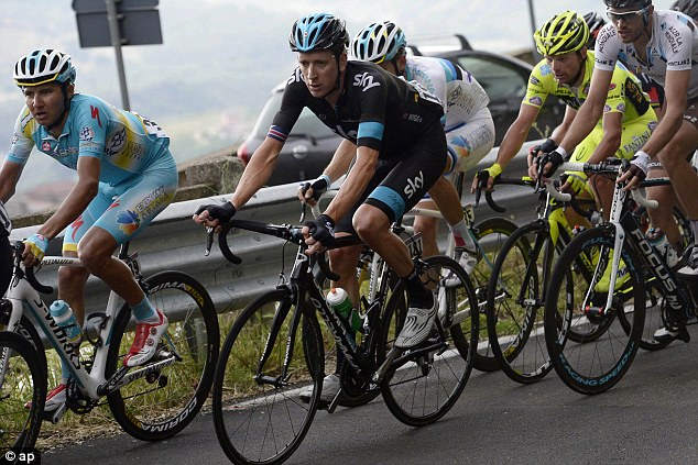 Slide: Sir Bradley Wiggins slipped down to sixth in the Giro d'Italia after the fourth stage