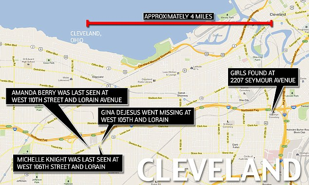 Map: The girls had been held captive in a home less than four miles from where they went missing ten years ago