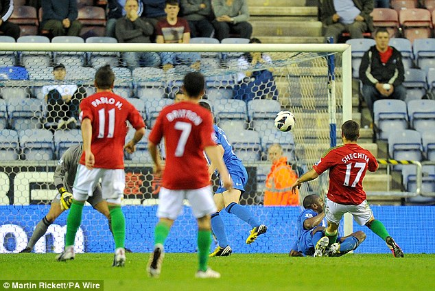 Back in it: Itay Shechter's strike from just outside the area brought Swansea level again with an hour played