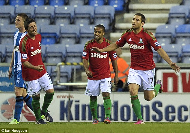 Timing: Shechter scored his first goal for Swansea since his loan move from Kaiserslautern
