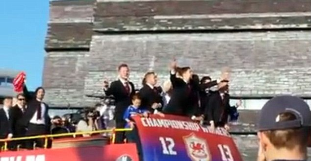 Broad daylight: The chanting also took place during Cardiff's promotion parade