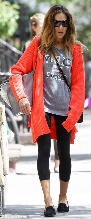Two outfits for Tuesday: Sarah Jessica Parker returned to regular mommy duties as she strolled alongside her energetic daughters in New York's West Village