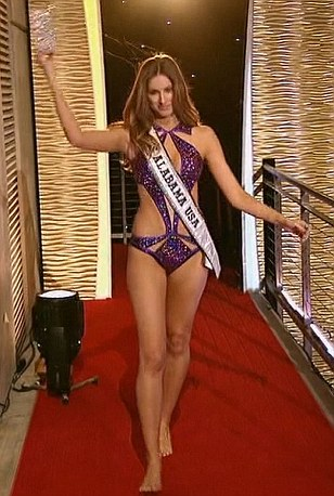 Beauty queen: Miss Alabama returned for the evening wearing a purple swimsuit