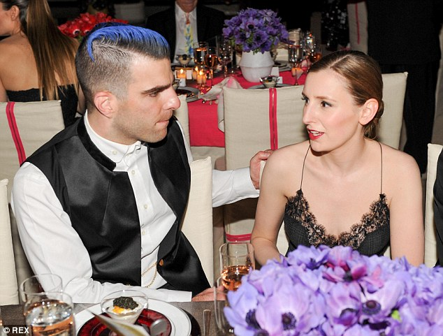 Moving boldly on: Star Trek's Zachary Quinto was mingling well with guests including Downton Abbey actress Laura Carmichael