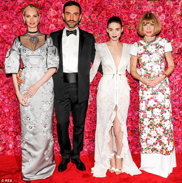 Power moves: Contributing Editor at Vogue Lauren Santo Domingo, designer Riccardo Tisci, Rooney Mara and Anna Wintour pout for the camera
