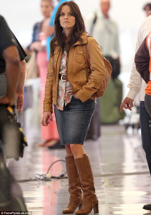 New role: Reese, seen filming late last month, has been spending lots of time in Atlanta recently while filming her latest movie The Good Lie