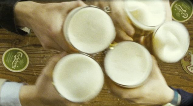 Bottoms up: The men attempt to drink 12 pints in 12 pubs before their lives are put in danger