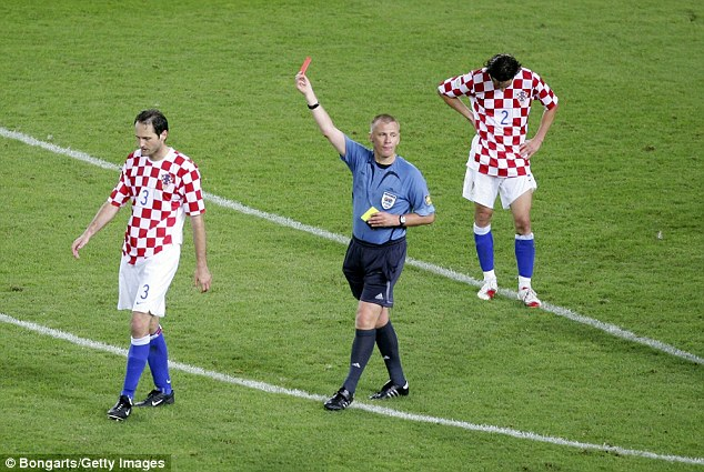 Card error: At the 2006 World Cup, Poll booked Croatia's Josep Simunic three times before sending him off